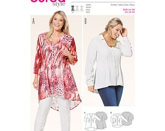 Burda Style Sewing Pattern 6615,  Misses High Low Hem Blouse, Ladies Button Up Top, Plus Sized Blouse, New Uncut