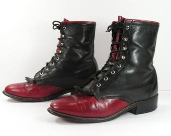 ankle cowboy boots womens 7 B M black red western leather ropers granny paddock lace up