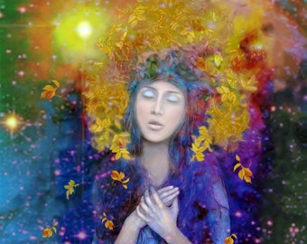 Peace, Original Art, Print, Woman, Imagination, Decor, Inspirational, Sun, Prayer, Spiritual
