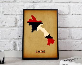Laos poster Laos art Laos Map poster Laos print wall art Laos wall decor Gift poster