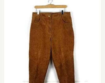ON SALE Vintage Camel Brown Pig split leather  High waist tapered Pants/W30*