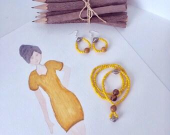 Bohemian Yellow Bracelet and Earrings
