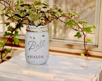 English ivy Plant in blue custom mason jar