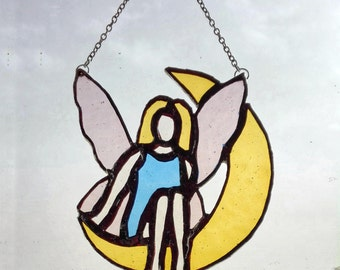 Stained Glass Fairy on the half-moon. Stained Glass home decor, window decor, suncatcher, gift for her