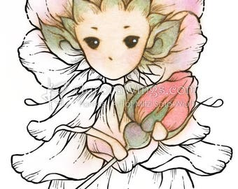 Digital Stamp - Whimsical Wild Rose Sprite - Instant Download - digistamp - Fantasy Line Art for Cards & Crafts by Mitzi Sato-Wiuff