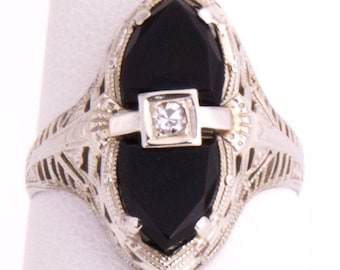 Vintage Antique Onyx and Diamond Ring set in 14k white gold