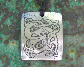 Celtic Dragon Pendant, Stainless Steel Etched - Power, Leadership, Pendragon