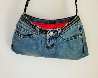 Denim Handbag/Upcycled Jeans/ Blue Denim and Red with Gold Stars/vintage look