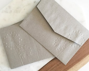 Invitation Size Envelopes, Blind Embossed Stationery Dandelion Print, Spring Wedding Stationery, A7 Paper Envelope, Rustic Wedding Envelopes