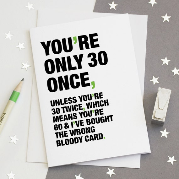 30th birthday card funny 30th card sarcastic 30th card 30th birthday card funny 30th card sarcastic 30th card happy 30th birthday card 30 card youre only 30 once free uk delivery bookmarktalkfo Choice Image