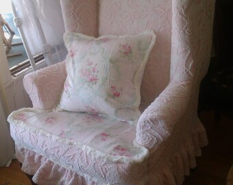 pink shabby chic slipcovered wingback chair ruffle cottage prairie vintage chenille bedspread