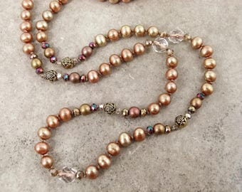 Long Hand Knotted Gold Pearl Necklace - Unrepentent Freshwater Pearls with Crystals and Glass Beads - Item 1625