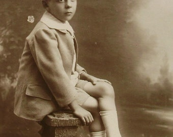 French Vintage Photograph - Young Boy