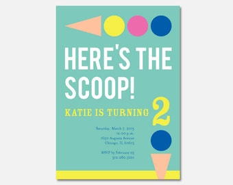 Ice Cream Birthday Party Invitation, Ice Cream Party, Custom Invitation, Printable Invitation, Flying Pinwheel