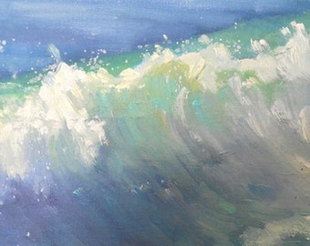 "Seascape Giclee Print on Canvas, Ocean Painting, ""Caribbean Blue"", free shipping choose your size, ready to hang, no frame required"