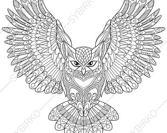 Owl. Coloring Page. Animal coloring book pages for Adults. Instant Download Print