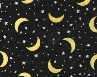 Black Moons & Stars Fabric - To The Moon and Back - Timeless Treasures