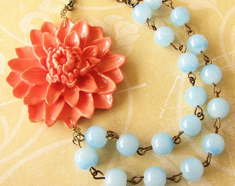 Statement Necklace Flower Necklace Coral Necklace Mint Jewelry Gift For Her