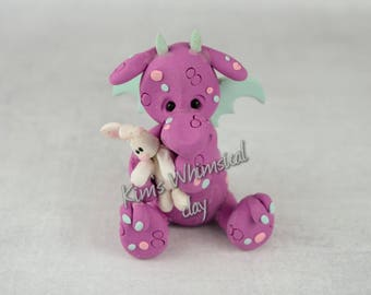 Handmade Polymer Clay Easter Dragon with bunny purple