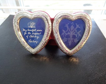 Vintage Double Heart Silver Picture Frame