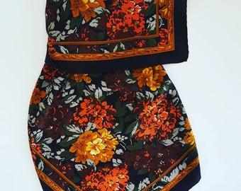 Pure silk vintage floral scarf