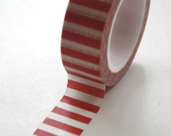 Washi Tape - 15mm - Red and White Horizontal Stripe - Deco Paper Tape No. 453