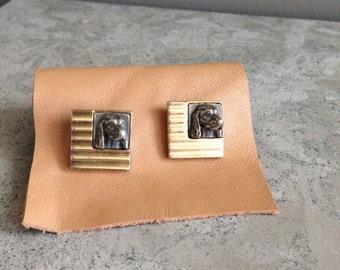 Vintage brass and pewter hound cuff links