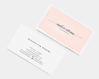 Business calling cards etsy au pink watercolor business card premade business cards modern calligraphy logo long cursive swashes minimal design elegant typography reheart Images