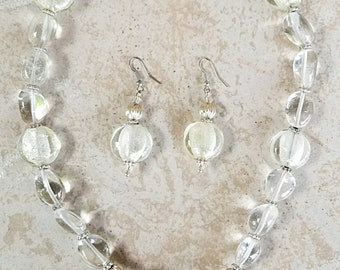 Clear Glass and Stone Necklace and Earring Set