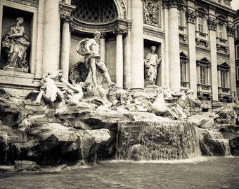 Rome Italy - Trevi Fountain - Black and White - Sepia - Fine Art Photograph - Fontana di Trevi
