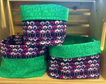 Funky Purple Floral Fabric Bins
