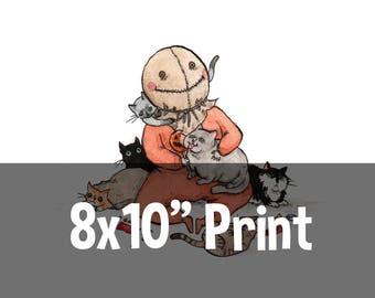 """8 x 10"""" Print - Trick FuR Treat - Sam with Cats Horror Print"""