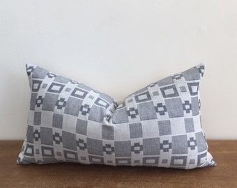 Vintage Graphic Blue Gray and White Tribal Lumbar Pillow Cover // 11 x 19