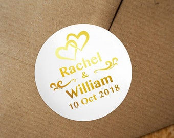 Personalized Gold Foil Wedding Labels, Personalized Sticker Labels, Wedding Sticker, #01