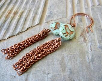 Turquoise Bird and Oxidized Copper Tassel Earrings - Nature/Garden Lover's Earrings - Rustic Earrings - Boho Earrings
