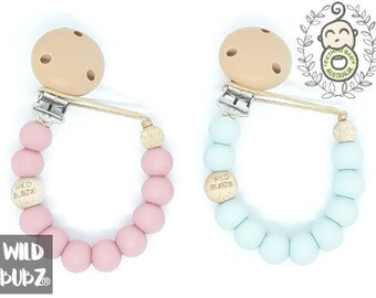 Certified | Safety Tested | PERSONALISED | Soother Holder | Dummy Chain Clip | Dusky Pink, blue or custom | wild bubz®