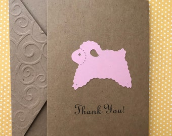 Baby Shower Thank You Cards, Customized Sheep Any Color, Handmade Sheep Card, Lamb Card, Set of 10 Blank Note Cards and Envelopes