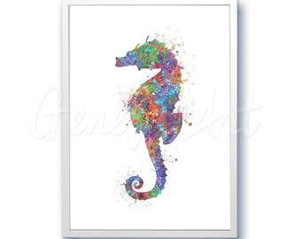 Sea Horse Sea Animal Watercolor Art Print  - Watercolor Painting - Sea Life Watercolor Art Painting - Home Decor - House Warming Gift