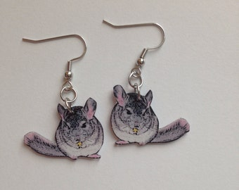 Handcrafted Plastic Chinchilla Chin Earrings Jewelry Accessories Fashion Novelty Unique Gift Gifts for Her