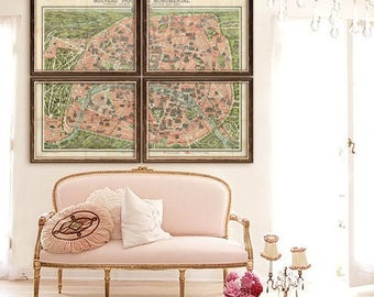 "Vintage Paris map 1917, Old map of Paris France in 5 sizes up to 80x60"" (200x150 cm) Paris map in 1 or 4 parts - Limited Edition of 100"
