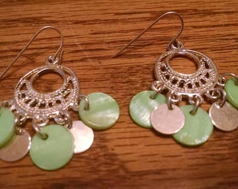 Mint Green Silver Hoop Earrings,Gifts Under 15.00, For Her, Accessories, Earrings,Vintage Jewelry,Pretty Drop Earrings, Gifts Her,Earrings