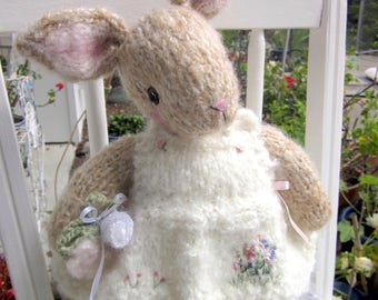 Knit Mohair Bunny Doll, Hand Knit, One of a Kind, Stuffed Rabbit Doll, Heirloom Collectible/ Rebecca Who is Five