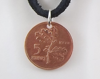 Turkey Coin Necklace, 5 Kurus, Coin Pendant, Leather Cord, Mens Necklace, Womens Necklace, Birth Year, 1970