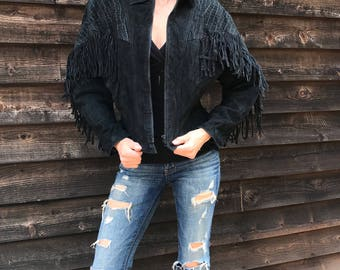 Vintage 80's G-III Black Suede Fringe Western Leather Bomber Jacket