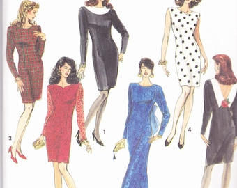 Simplicity 7497 CLEARANCE Vintage  Pattern Womens Fitted Dress in 5 Variations Size 8,10,12,14 UNCUT