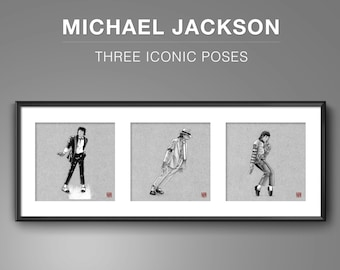 Michael Jackson - 3 x Iconic Poses -  Illustrated Giclee Prints