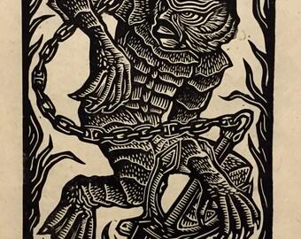 Creature From The Black Lagoon Block Print