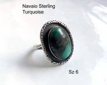 Oval Turquoise Ring Native American Navajo Vintage Jewelry