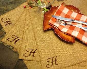 Burlap Placemats monogram EMBROIDERED - Personalized Embroidered Placemats - set of 6 Thanksgiving Table Decor