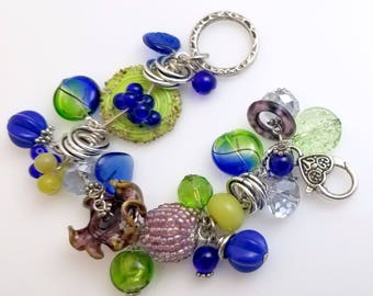 Fun Cha Cha Style Bracelet Variety of Colors and Bead Styles, Montana Blue, Lavender, Apple Green,